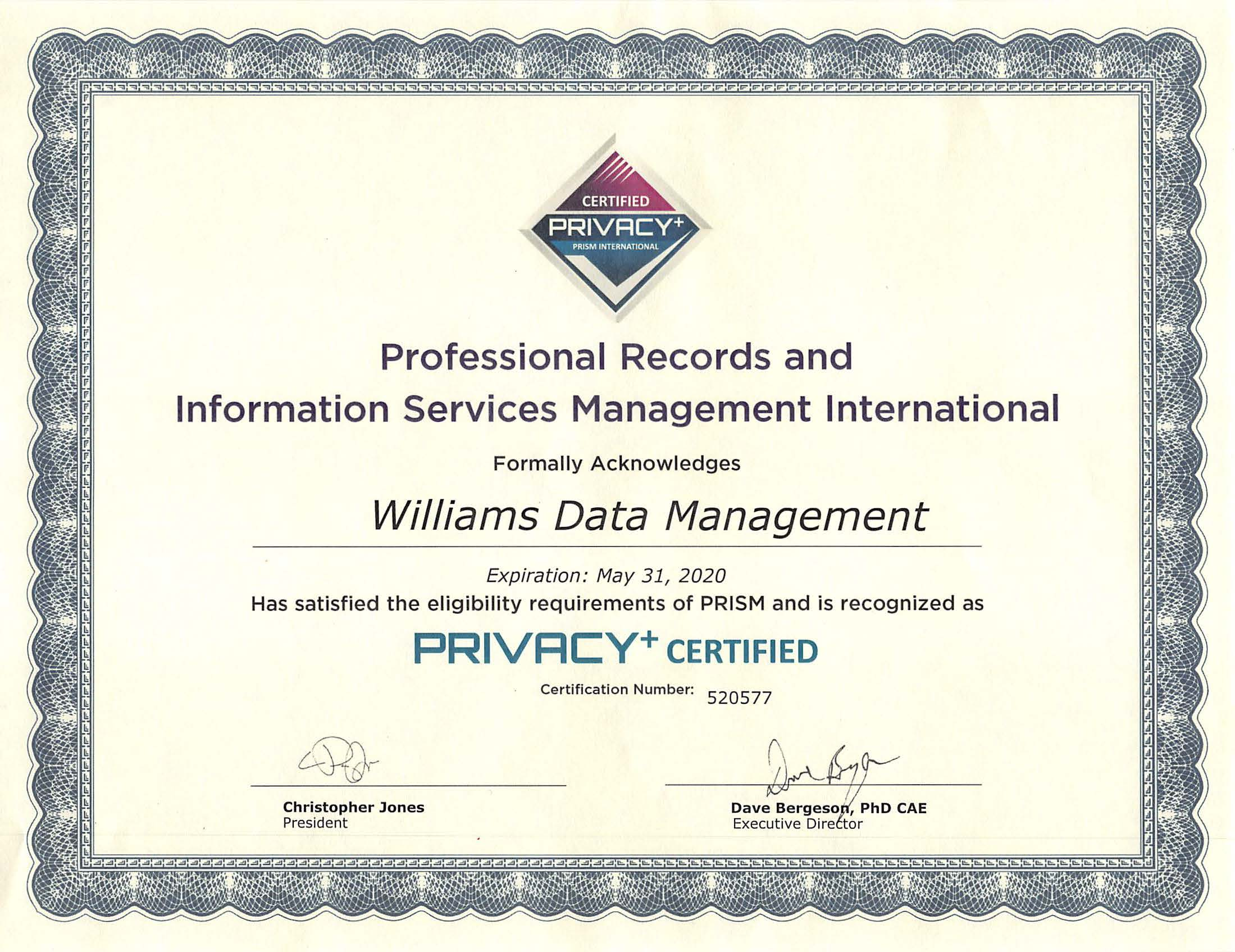 PRISM Privacy+ Certification