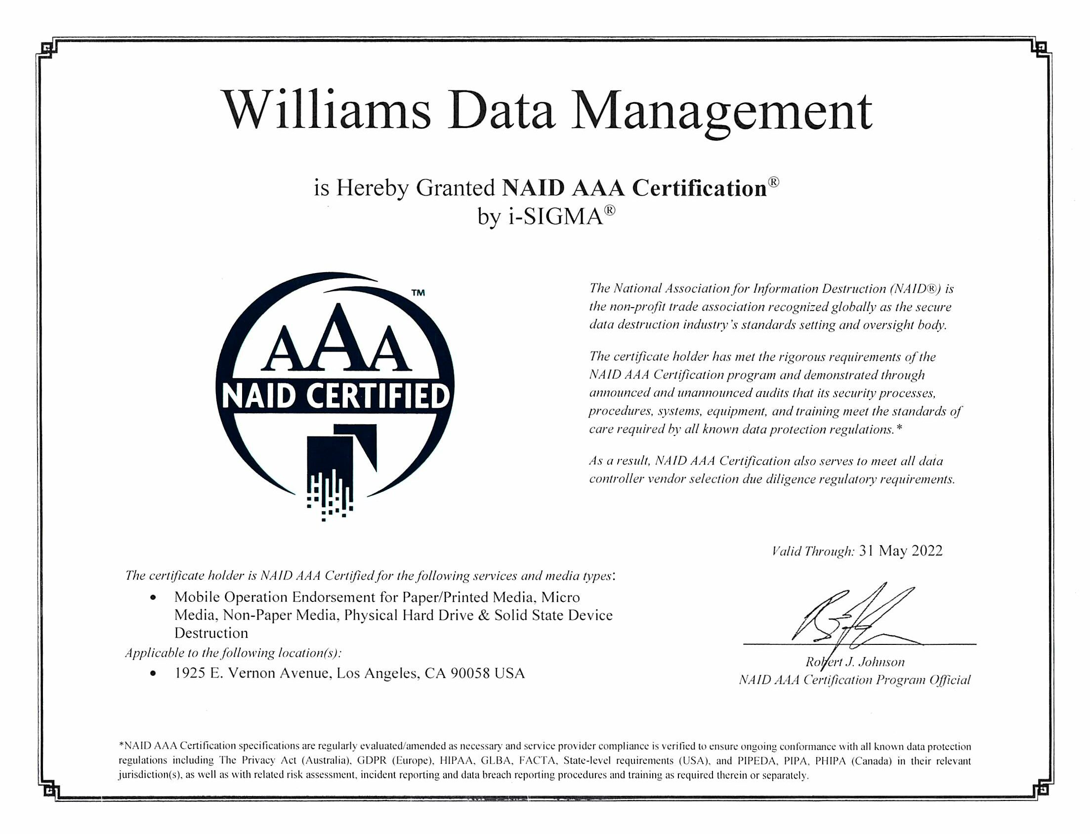NAID Certification 2021
